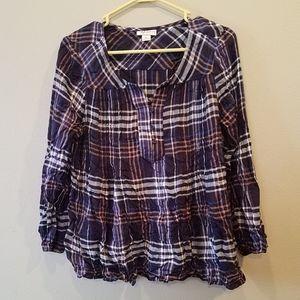 Women's Style & Co. Purple plaid top size large